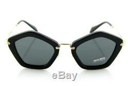 $450 NEW Genuine MIU MIU Glossy Black Pentagonal Sunglasses MU 06O 1AB-1A1 06OS