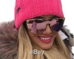 $500 RARE VERSACE Glam Medusa Pale Gold Rose Mirror Sunglasses VE 2177 12524Z