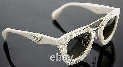 $700 Genuine PRADA MILANO Ornate Saffiano Leather Sunglasses SPR 14S PR 14SS UFP