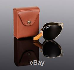 $800 RAY-BAN 22KT GOLD PLATED Folding AVIATOR Sunglasses RB 3479KQ 001/M7 3025