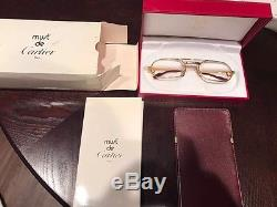 Auth CARTIER Logos Reading Glasses Eye Wear Gold Clear Vintage France V11815