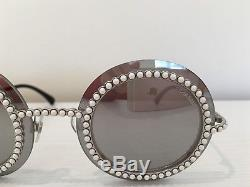 Auth CHANEL 71140 L2467 3N Silver Gray Round Pearls Mirrored Runway Sunglasses