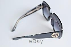 Authenti Gucci GG 0048S 003 Black Crystal Oversize Squared Frame Sunglasses new