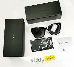 Authentic DIOR Womens Sunglasses 30 Montaigne 1 Square Glossy Black Oversized