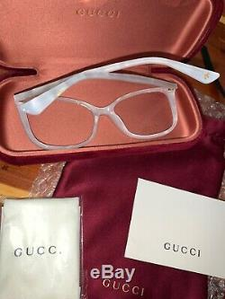 Authentic Gucci GG0026O-003 Womens Ivory Designer Cat Eyeglasses 53mm Pearl NEW