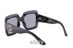 Authentic Gucci GG0053S 001 Black Urban Square Sunglasses Grey Gradient Lens NEW