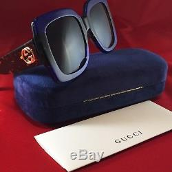 Authentic Gucci GG0083S 003 Oversized Sunglasses Blue tortoise Brown Lenses 55MM