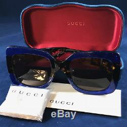 efeabff9db5 Authentic Gucci Gg0083s 003 Squared Blue Havana Brown Sunglasses Women New  55mm