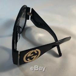 Authentic Gucci GG0152S BLACK Acetate Green Lens Frame Women's Sunglasses 100%UV