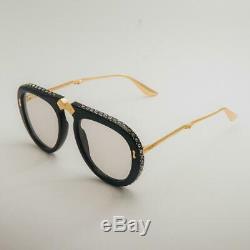 Authentic Gucci GG0307S Foldable 004 Black/Gold Sunglasses