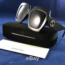 d8d7e3a6585 Authentic Gucci Gg 0102s 001 Glitter Sunglasses In Black 100% Uv