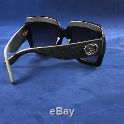 Authentic Gucci GG 0102S 001 Glitter Sunglasses in Black 100% UV