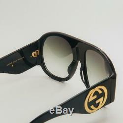 Authentic Gucci GG 0152 S 002 Aviator Black Oversized Sunglasses