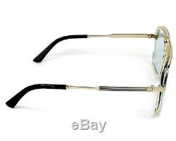 Authentic Gucci Sunglasses GG0200S 005 57mm Yellow-Gold / Light Blue Lens