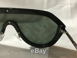 Authentic New Fendi FF M 0039 Shield Sunglasses Black Zucca Silver Logo