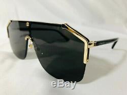Authentic New GUCCI SUNGLASSES GG0291 Metal Shield Unisex Gold Dark Gray