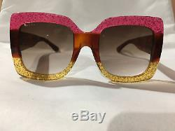 Authentic New Gucci Sunglasses GG0083 Yellow Frame Gray Grey Lens