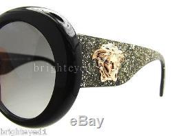 Authentic VERSACE Black Glitter Medusa Sunglasses VE 4298 5156/11 NEW