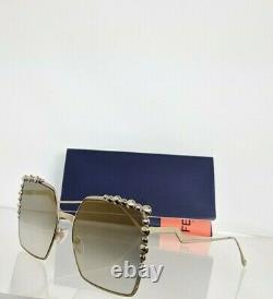 Brand New Authentic Fendi FF 0259/S Sunglasses J5GFQ Gold 60mm Frame 0259