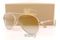 Brand New Burberry Sunglasses BE 3092Q 1145/6E Gold/Brown Mirror Gold Men Women