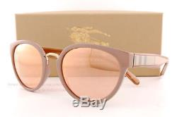 Brand New Burberry Sunglasses BE 4249 3281/7J Beige Brown/Rose Gold Mirror Women