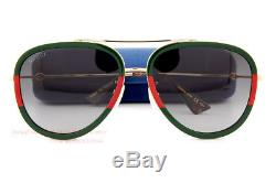 Brand New GUCCI Sunglasses GG 0062/S 003 Gold Red Green/Gray For Men Women