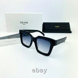 CELINE CL4S130 Black Gray Square Rectangular Sunglasses Eyewear Glassess Women