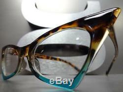 CLASSIC RETRO CAT EYE Style Clear Lens EYE GLASSES Tortoise & Turquoise Frame