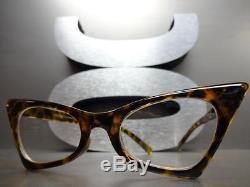 CLASSIC VINTAGE 50's RETRO CAT EYE Style Clear Lens EYE GLASSES Tortoise Frame