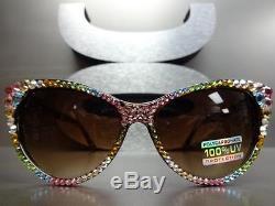 CLASSIC VINTAGE CAT EYE Style BLING CRYSTALS SUN GLASSES Tortoise Frame Handmade