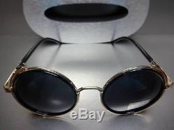 CLASSIC VINTAGE RETRO 60's STEAMPUNK CYBER Round Blinder SUN GLASSES Gold Frame