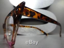 CLASSIC VINTAGE RETRO CAT EYE Style Clear Lens EYE GLASSES Tortoise & Pink Frame