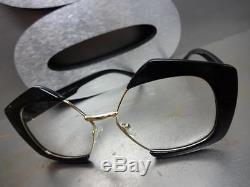 CLASSIC VINTAGE RETRO Style Clear Lens EYE GLASSES Black & Gold Fashion Frame