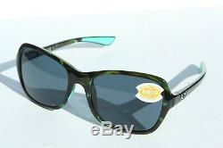 COSTA DEL MAR Kare 580P POLARIZED Sunglasses Womens Shiny Kiwi Tortoise/Gray NEW