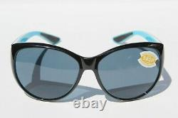 COSTA DEL MAR La Mar 580P POLARIZED Sunglasses Womens Black/White/Aqua/Gray NEW