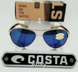 COSTA DEL MAR gold-tortoise/blue mirror LORETO POLARIZED 580P sunglasses! NEW