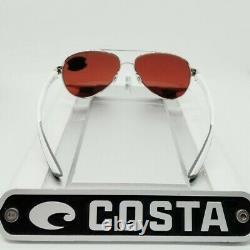 COSTA DEL MAR silver/green mirror LORETO POLARIZED 580G GLASS sunglasses NEW