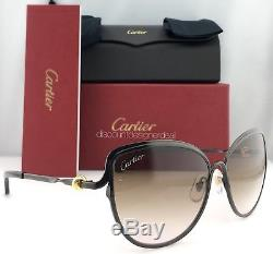 Cartier Cat Eye Sunglasses Trinity Black Metal Brown Gradient ESW00187