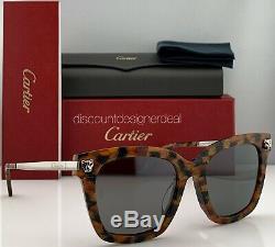 Cartier Cateye Sunglasses Havana Frame Silver Temples Gray Mirror CT0025SA