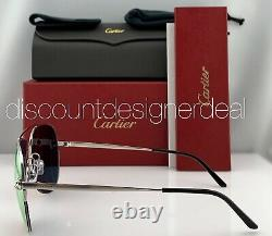 Cartier Panthère Aviator Sunglasses Silver Pink Mirrored Lens CT0065S 005 60mm