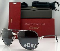 Cartier Première Sunglasses CT0053S 002 Black Leather Silver Gray Polarized 61mm