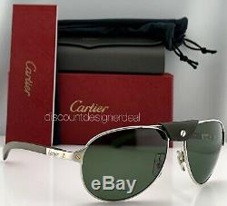 Cartier Santos Aviator Sunglasses Khaki Green Silver Real Wood Calfskin Leather