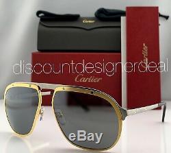 Cartier Santos Aviator Sunglasses Ruthenium Gold Silver Lens CT0035S 003 60mm