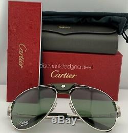 Cartier Santos Aviator Sunglasses T8200874 Dark Green Ruthenium Green Polarized