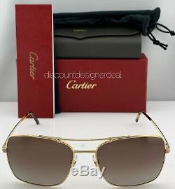 Cartier Santos Horizon Sunglasses CT0084S 001 Gold Frame Brown Polarized Lens 60