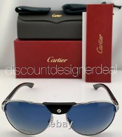 Cartier Santos Sunglasses Silver Carbon Wood Blue Polarized Lens CT0088S 002 61