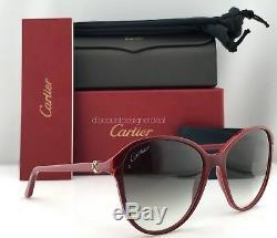 Cartier Women Sunglasses Double C Decor ESW00111 Burgundy Composite Gray Lens