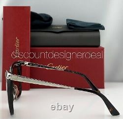 Cartier Womens Cateye Sunglasses Havana Frame Silver Temples Peach CT0030S 002