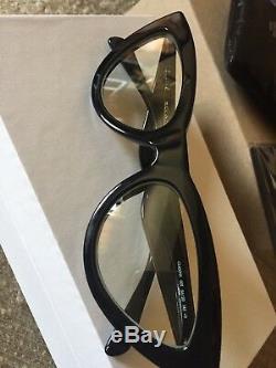 Celine CL400191 Black Cat Eye Sunglasses yellowish clear lens Phoebe Philo