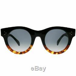 Celine CL 41440/F FU5 Black Havana Plastic Round Sunglasses Grey Degrade Lens